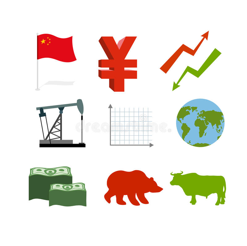 Set biznesowe grafika Ustawia inografika chińczyka rynek zbiera ilustracja wektor