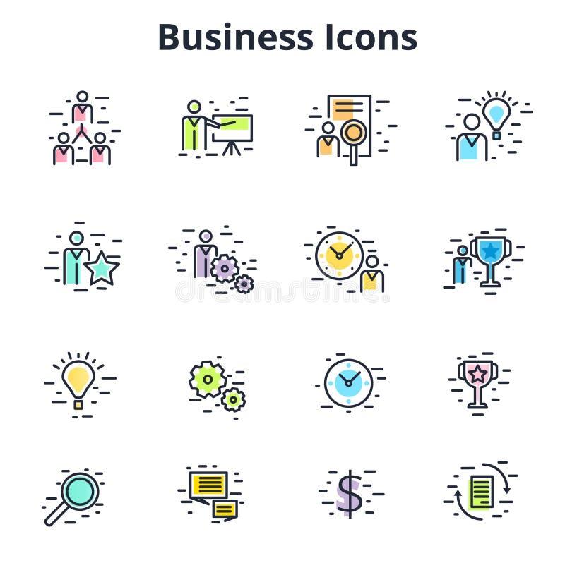 Set biznesowe ikony w kreskowym płaskim wektorowym projekcie Korporacyjny symb royalty ilustracja