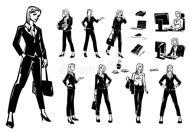 Set biznesowe kobiety w różnych pozach i sytuacjach royalty ilustracja