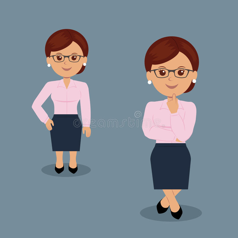 Set biznesowej kobiety pozycja w różnorodnej akci ilustracji