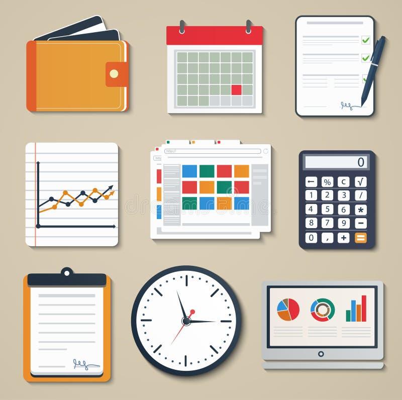 Set biznesowi elementy marketing, reportaż royalty ilustracja