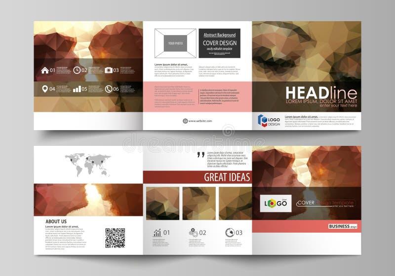 Set biznesowi szablony dla trifold kwadratowych projekt broszurek Ulotki pokrywa, abstrakcjonistyczny wektorowy układ Romantyczna royalty ilustracja