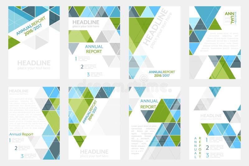 Set biznesowy ulotka szablon, broszurka lub korporacyjny sztandar z geometrycznym wzorem, A4 rozmiar royalty ilustracja