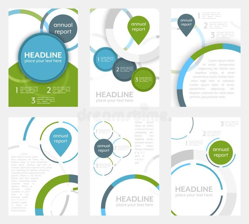 Set biznesowy ulotka szablon, broszurka lub korporacyjny sztandar z kurenda wzorem, A4 rozmiar ilustracja wektor