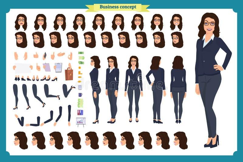 Set bizneswomanu charakteru projekt Przód, strona, tylny widok animował charakteru Biznesowa dziewczyna Kreskówka, płaski wektor  ilustracja wektor