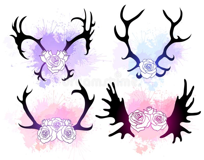 Set blac sylwetki rogacze i łoś uzbrajać w rogi z kwiatami i akwareli pluśnięciami delikatnie Przedmiot jest odzielnie od ilustracji