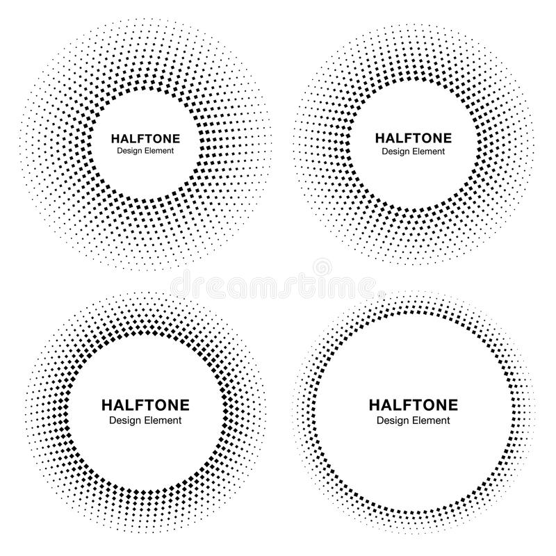 Set of Black Abstract Circle Frame Halftone Dots Logo Design Elements for medical treatment, cosmetic. stock illustration