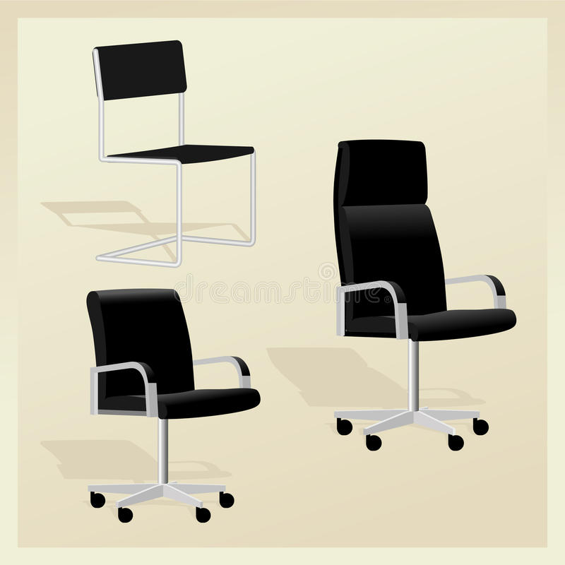 Set of black adjustable office chairs. Set of black office chairs; Black high detail leather office adjustable chair with arms for boss royalty free illustration