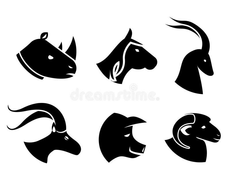 Set of black animal head icons. Set of black silhouette vector animal head icons in profile with a rhino horse antelope goat pig and sheep vector illustration