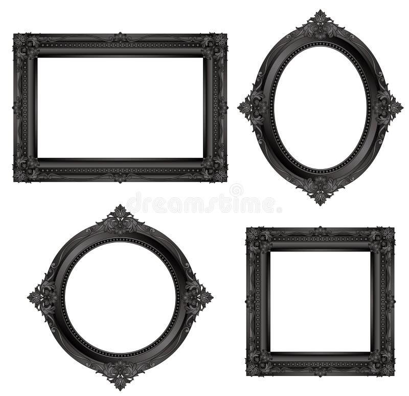 Set Of Black Antique Frames. Stock Vector - Illustration of frame ...