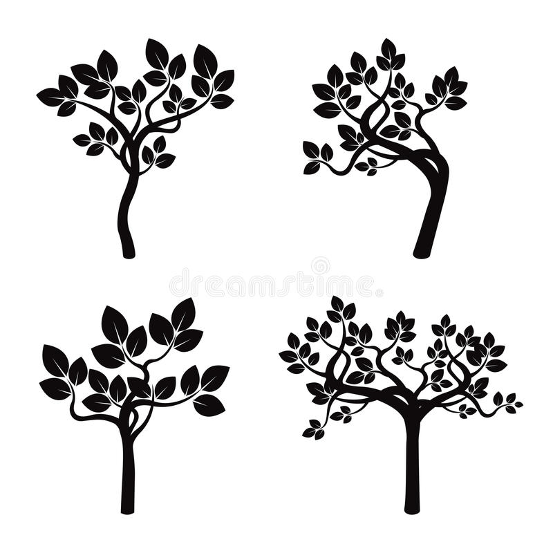 Set of Black Apple Trees and Roots. Vector Illustration stock illustration