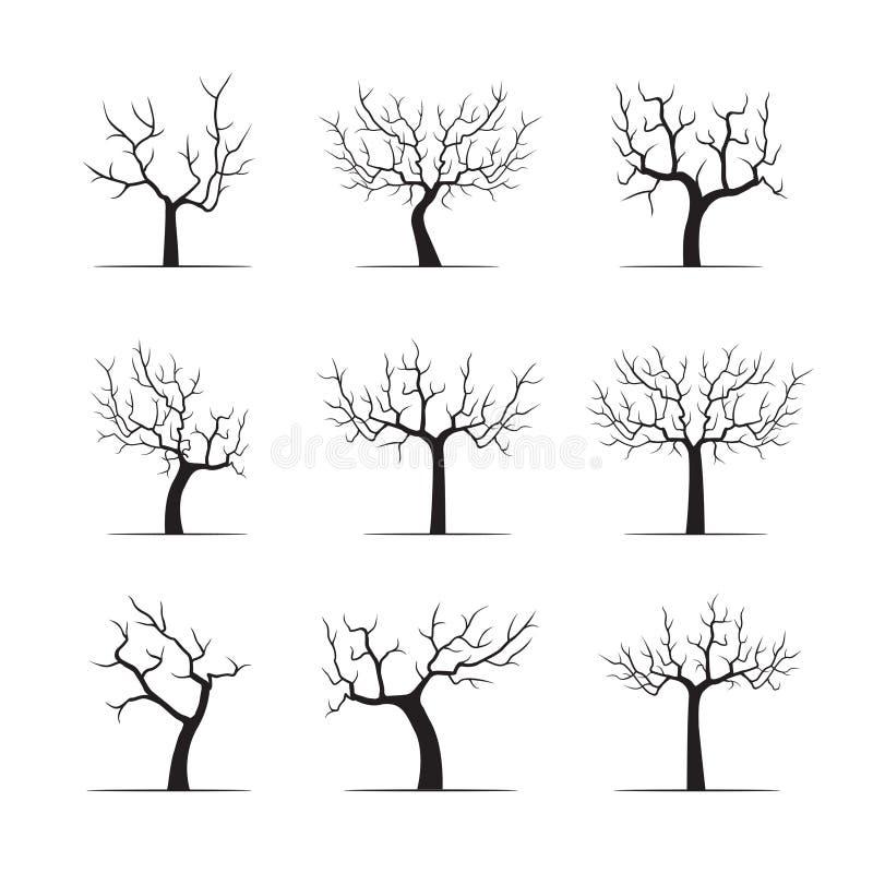 Set Black Apple Trees. Vector Illustration stock illustration