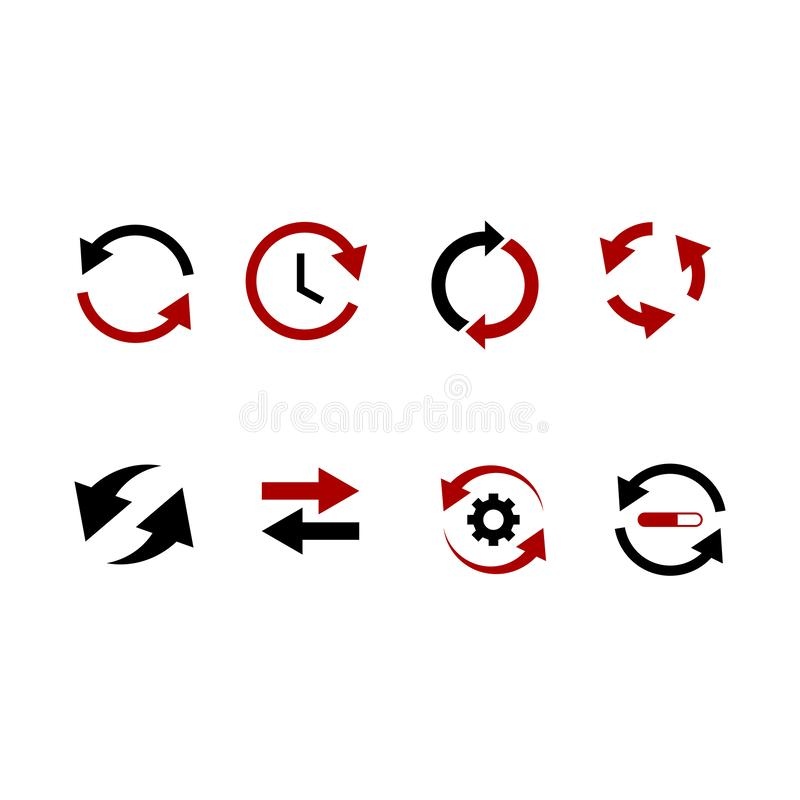 Set of black arrow icons vector Arrow series, various styles, black, white on the vector royalty free illustration