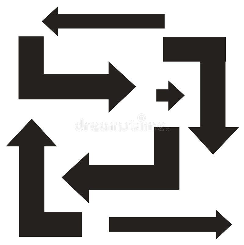 Set Black Arrows Symbol Right Turn Left Turn Angle Forward
