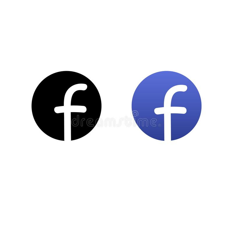 Set of black and blue modern social media icons.  royalty free illustration