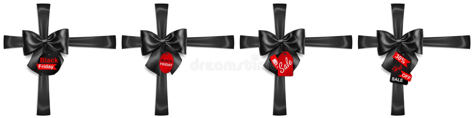 Set of black bows with crosswise ribbons and sale labels royalty free illustration