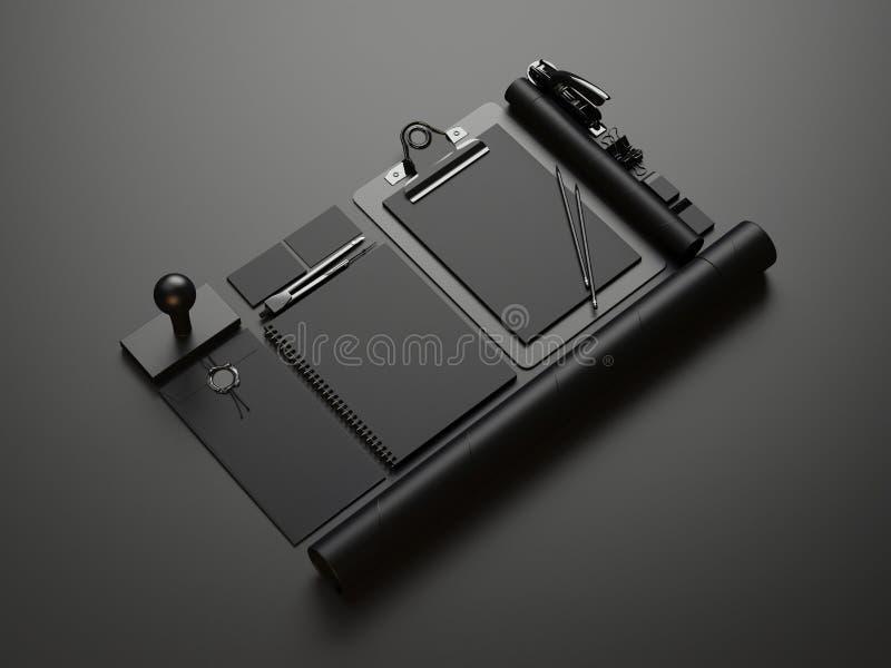 Set of black branding elements on black paper background. Set of blank identity elements vector illustration