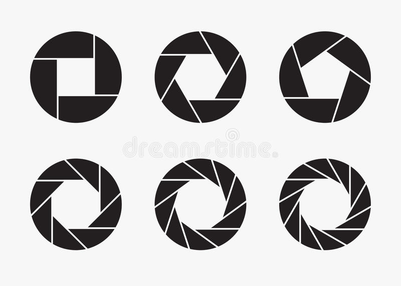 Set of black camera lens aperture icons. Set of black camera lens aperture icons isolated on light background. Camera objective icon. Shutter icon. Focus icon vector illustration