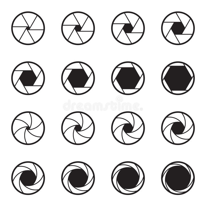 Set of black camera lens aperture icons isolated on a white background. Two ranges of various aperture sizes. Vector illustration vector illustration