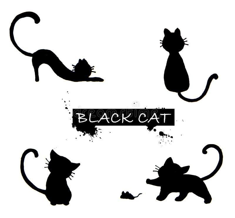 Set of black cat`s silhouette stock illustration