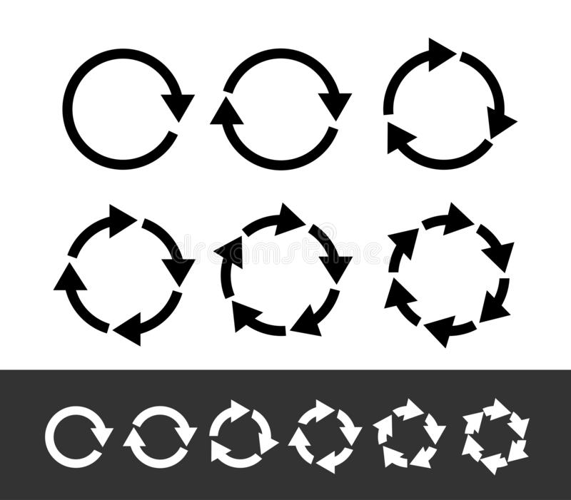 Set of black circle arrows. Modern mono solid plain flat minimal style. Vector Icons. Graphic for website. Isolated on white stock illustration