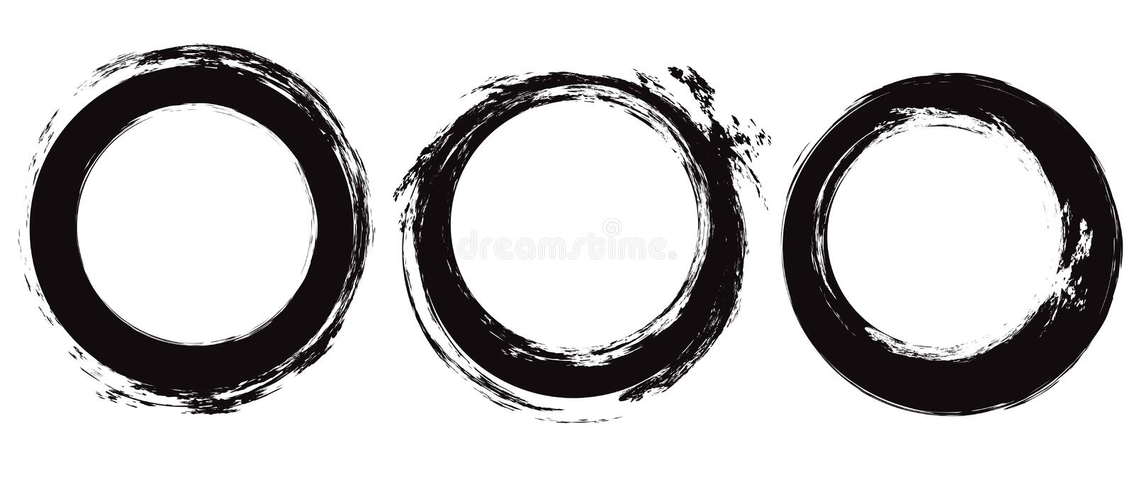 Set of black circle grunge strokes. Round ink brushstrokes. Objects separate from the background. Vector scratch elements royalty free illustration