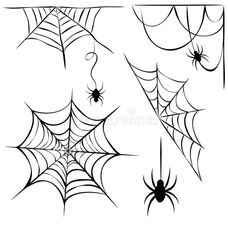 Set of black cobweb and hanging spiders isolated on white background. line art of spider webs and spiders for halloween. cobweb. Set of black cobweb and hanging vector illustration