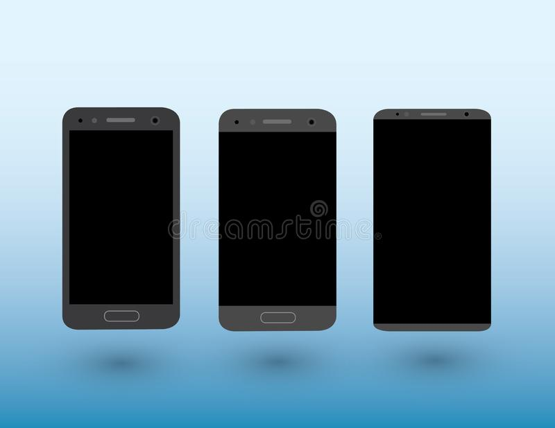 A set of black color modern touchscreen smartphones on light blue background with shadow vector illustration. A set of black color modern touchscreen smartphones royalty free illustration