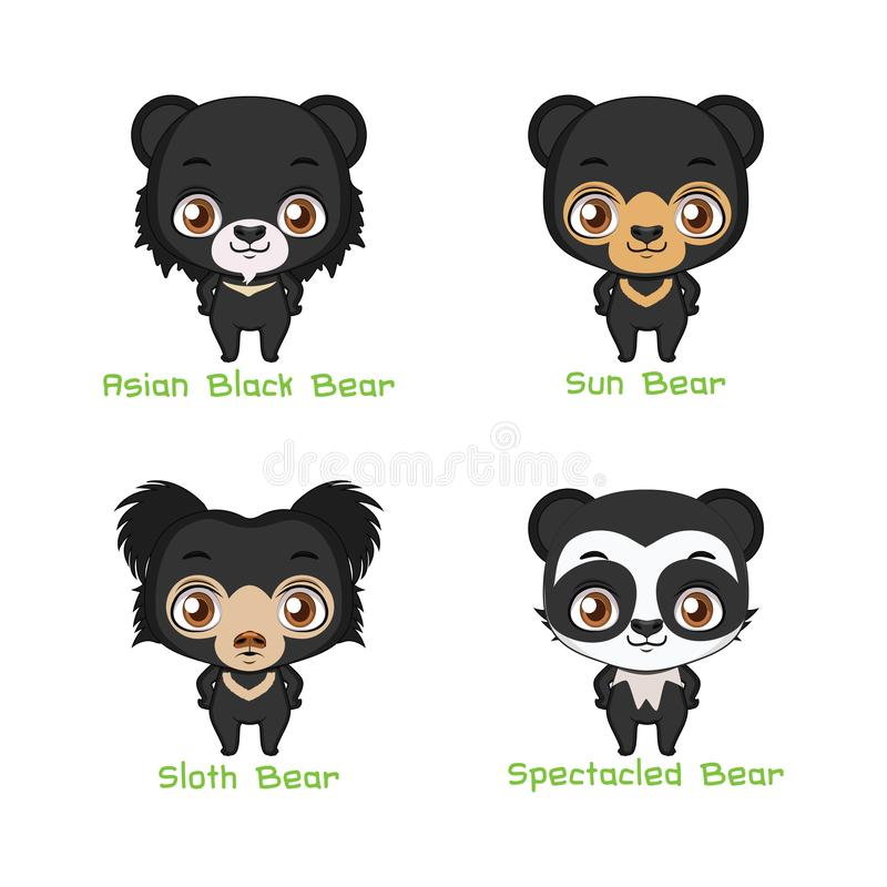 Set of black colored bear species royalty free illustration