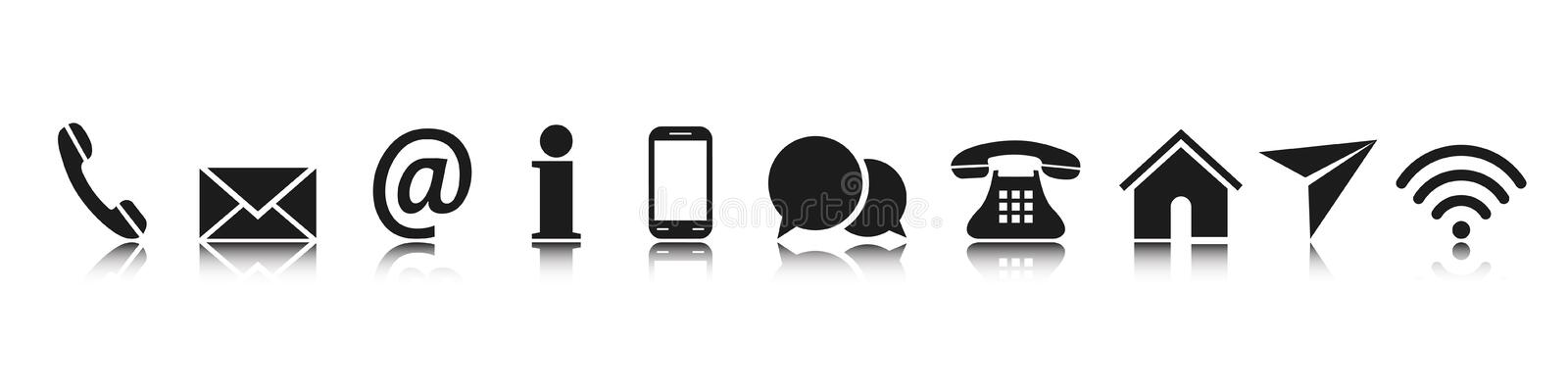Set black contact icons, communication signs - vector royalty free illustration