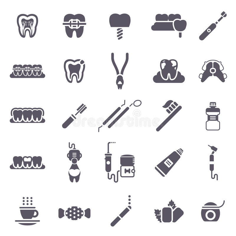 Set of Black Dental Icons Isolated on White. Vector Illustration for Dentistry and Orthodontics. Healthy Tooth, Transparent and Metallic Braces, Retainer, Bad royalty free illustration