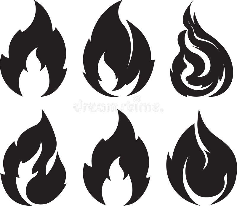 Set of 9 black fires for design or tattoo.  stock illustration