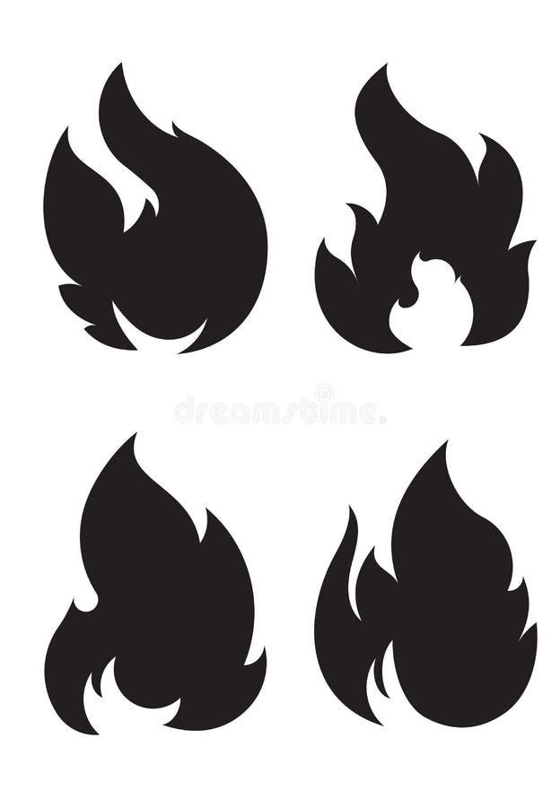 Set of 4 black fires for design or tattoo.  vector illustration