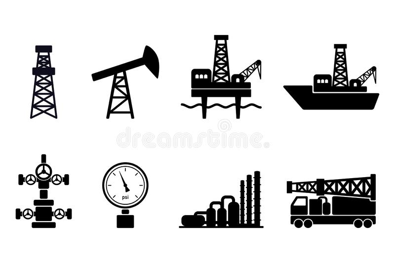 Set of black flat vector oil and gas icons: onshore and offshore drilling signs, drilling rig, sucker rod pump, gas processing. Plant, wellhead, pressure gauge vector illustration