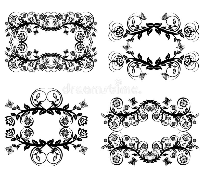 Set of black floral frames isolated on royalty free stock photo