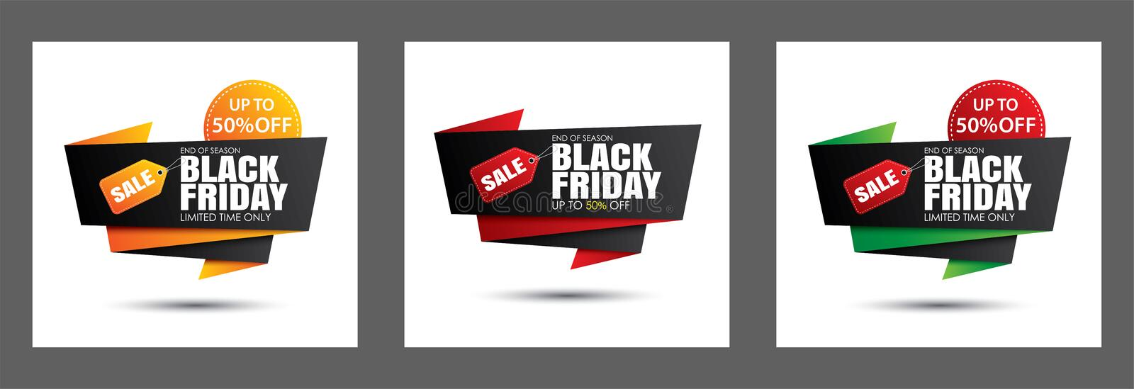 Set of black friday sale banner template isolated on white background. Use for poster, shopping, promotion, advertising stock illustration