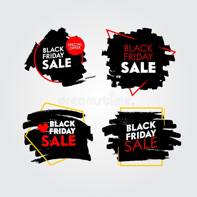 Set of Black Friday Sale Banners with Abstract Grungy Pattern. Promo Post Design Templates for Social Media Marketing stock illustration