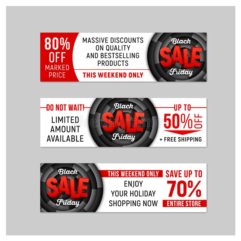 Set of Black Friday Sale horizontal banners. Vector template. royalty free stock image