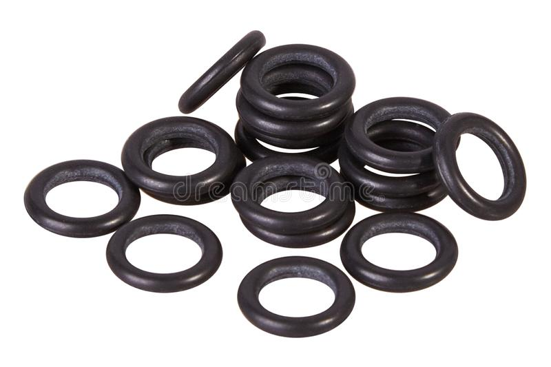 Set of black gaskets isolated. Oil seals for hydraulic cylinders for Industrial on white background. Rubber rings. Sealing gaskets for hydraulic joints. Rubber stock photos