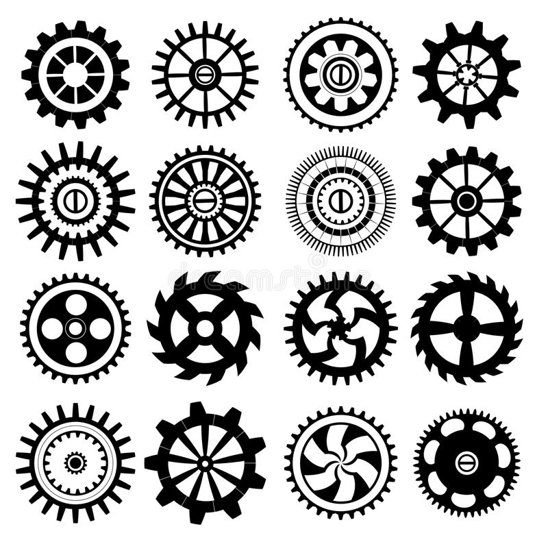 Set of black gears royalty free illustration