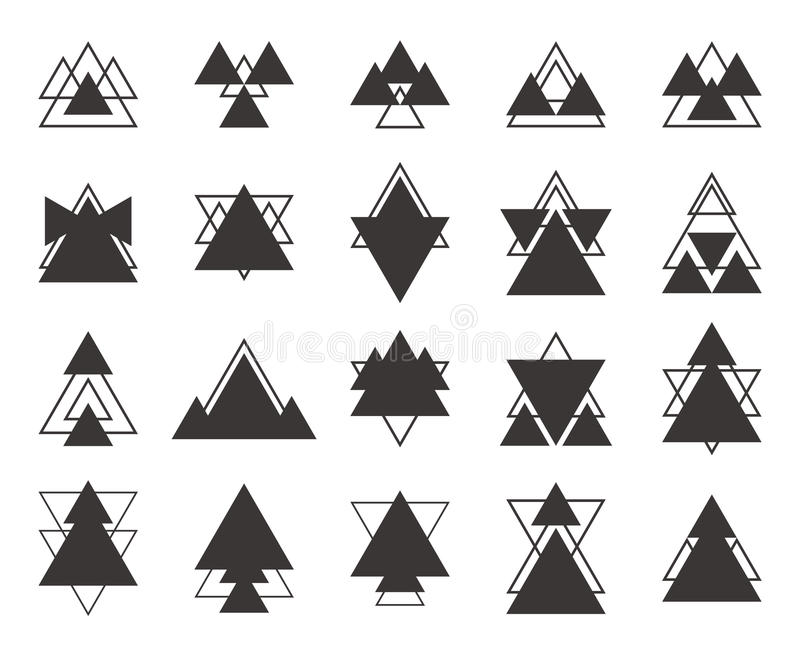 Set of black geometric shapes triangles, lines for your design. vector illustration
