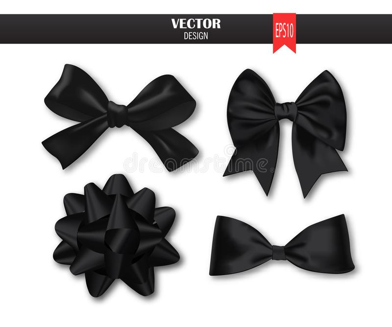 Set of black gift bows with ribbons. Vector illustration. royalty free illustration