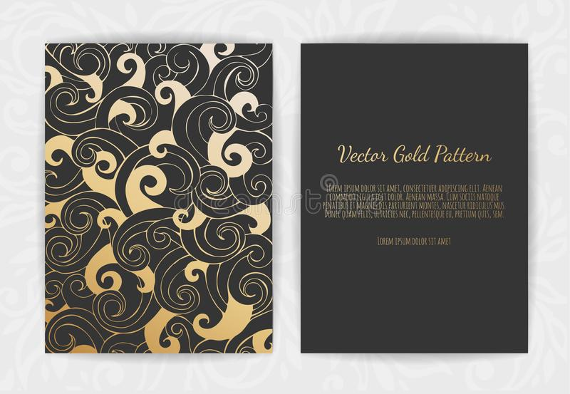 Set of Black and Gold Design Templates for Brochures, Flyers, Logo, Banners. Abstract Modern Backgrounds. vector illustration
