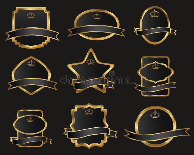 Set of black gold-framed labels vector illustration