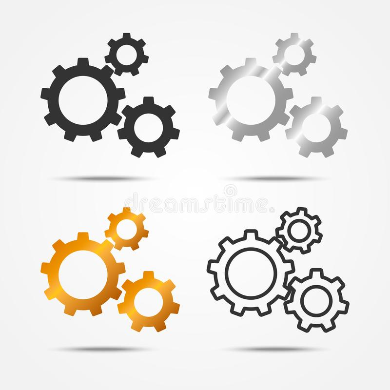 Set of black, gray, silver and gold 3 gears or cogs sign simple icon with shadow on white background royalty free illustration