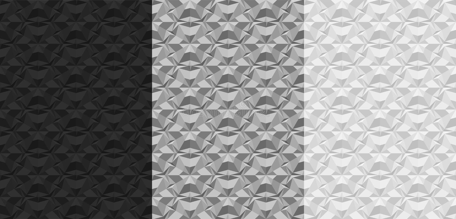 Set of black, gray, white geometric seamless patterns. 3D textures with the effect of volume extrusion. Template for stock illustration