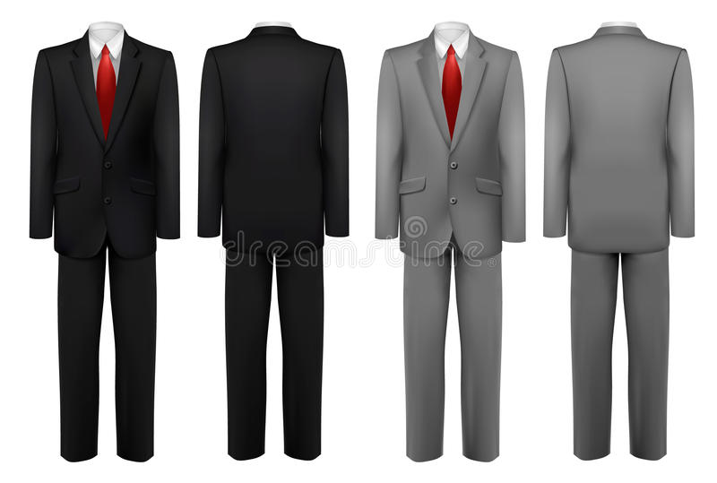 Set of black and grey suits. Vector royalty free illustration