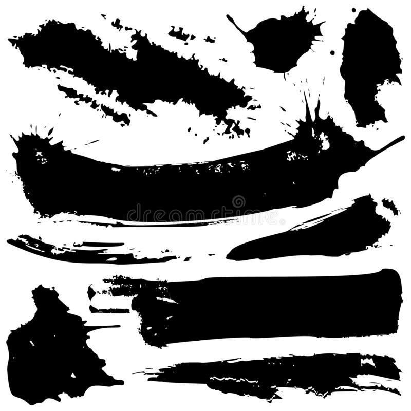 Set of black grunge ink blobs - vector. Set of vector black grunge ink blobs. Can be used for decorate of card, web design background, book cover. Isolated on stock illustration