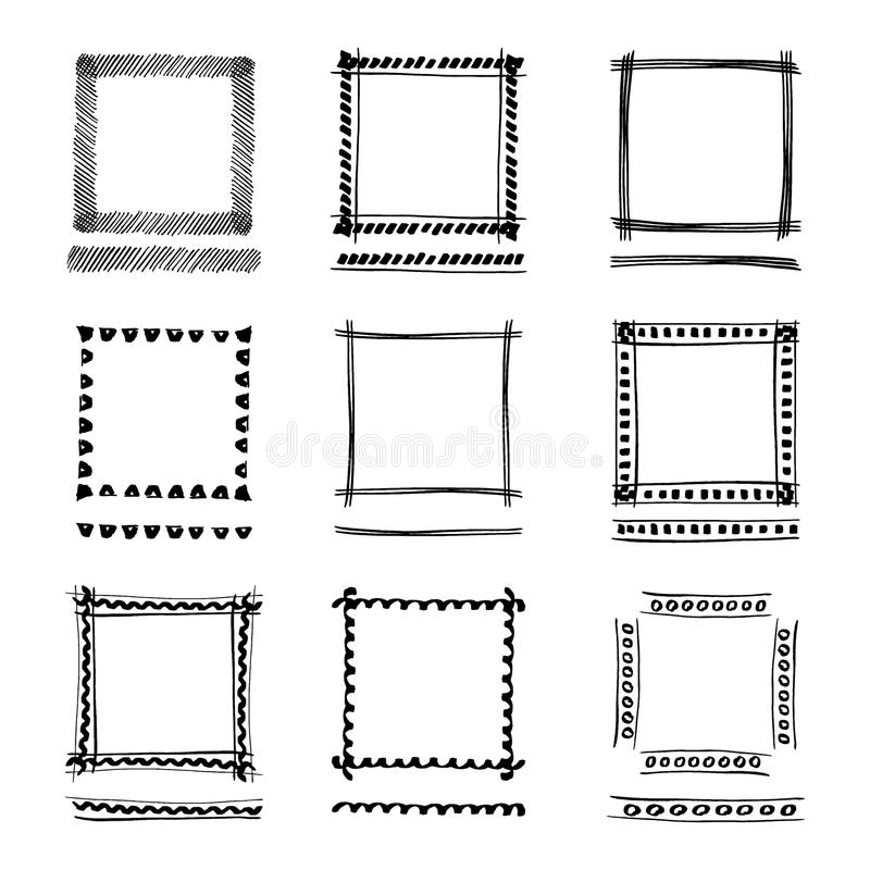 Set of Black Grunge ink Frames. Abstract artistic hand painted royalty free illustration