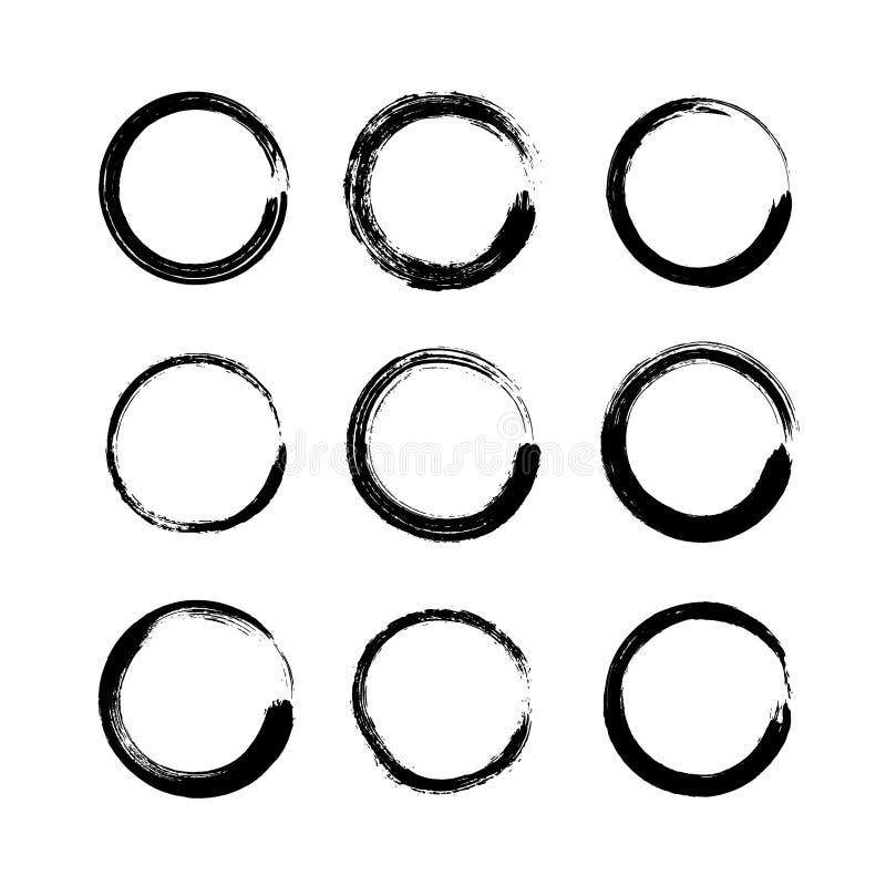 Set of black grunge round shapes isolated on white background. Circle hand drawn frames, logo ink brush strokes vector illustration